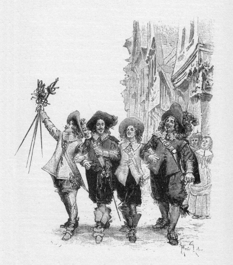 One for all, and all for one! d'Artagnon and The Three Musketeers By Maurice Leloir (1851-1940)